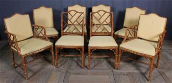 Good Set of 8 Faux Bamboo Dining Chairs