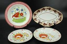 Four Antique Continental Porcelain Plates