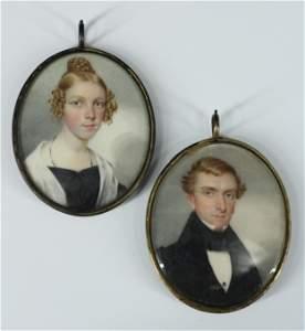Antique 19th C Portrait Miniature Paintings