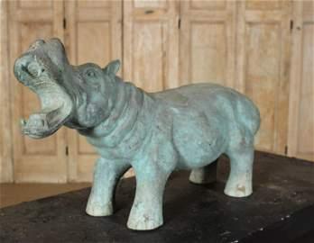 Figural Verdigris Bronze Hippo Garden Ornament