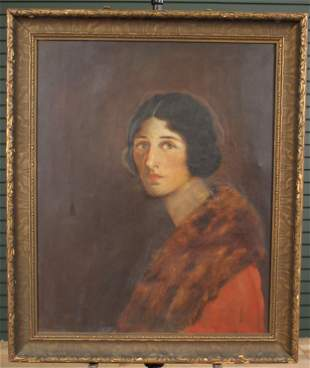 Early 20th C Portrait Painting of Matilda Bigelow