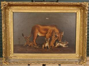 Allegorical Lioness and Cubs Painting