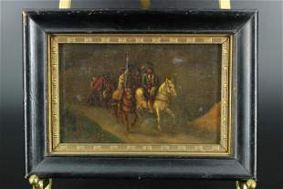Antique Continental Pilgrimage Genre Painting
