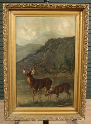 Lodge Decor Painting- Buck and Doe