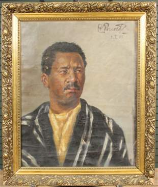 Early 20th C Continental Portrait Painting