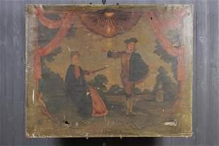 Antique Courtesan Genre Painting