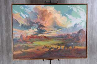 Western Canyon Painting Attributed to Bunnelle