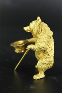 Russian Style Gilt Bronze Bear w Top Hat and Cane