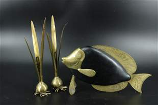 Mid C. Modern Brass and Wood Fish and Candlesticks