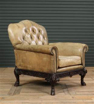 English Leather Upholstered Library Chair