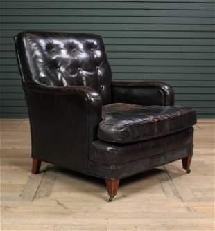 Vintage Labeled Henredon Black Leather Club Chair