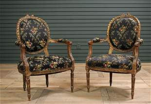 Pair of 19th C. French Giltwood Carved Fauteuils