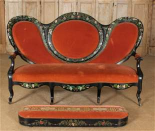 Antique Victorian Parlor Settee with Footstool