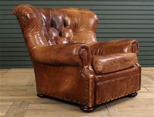 Labeled Ralph Lauren Leather Tufted Club Chair