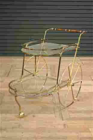 Italian Modern Brass and Glass 2-Tiered Bar Cart
