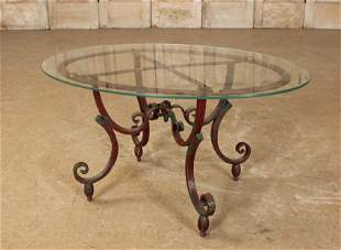 French Rene Prou Style Wrought Iron Side Table