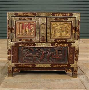 Chinese Lacquered & Giltwood Table Top Cabinet