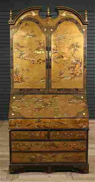 2 Piece Asian Chinoiserie Decorated Secretary Desk