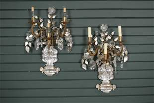 Pair of Maison Bagues Attr. Rock Crystal Sconces