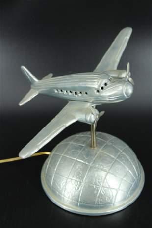 Art Deco Style Cast Metal Airplane Model Light