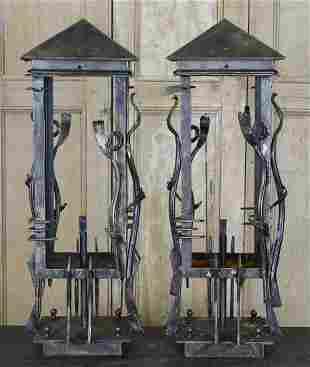 Pair Wrought Iron Lanterns