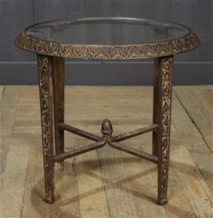 Art Deco Style Glass Top Cast Iron Table