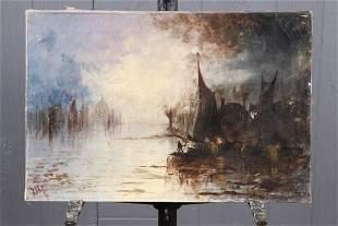 Unknown Artist. Nocturne Harbor Scene
