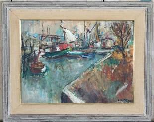 Harbor Scene Painting Signed Sundell