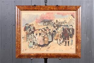 O. Fader Watercolor Alpine Village Scene
