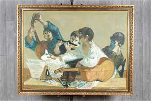 20th C Genre Painting Signed Fontanarosa