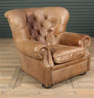 Labeled Restoration Hardware Leather Club Chair