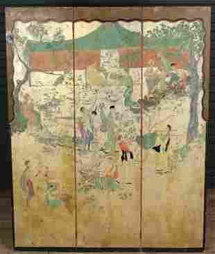 French Chinoiserie Paint Decorated 3 Panel Screen