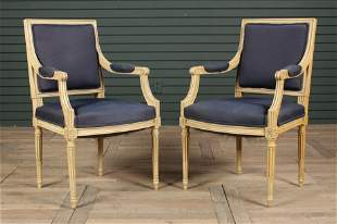 Pair French Louis XVI Style Painted Open Armchairs