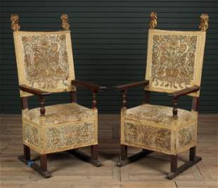 Pair Antique Italian Carved Walnut Armchairs