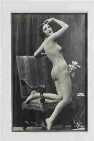 Vintage Photo - Female Nude Marked Leo Pa