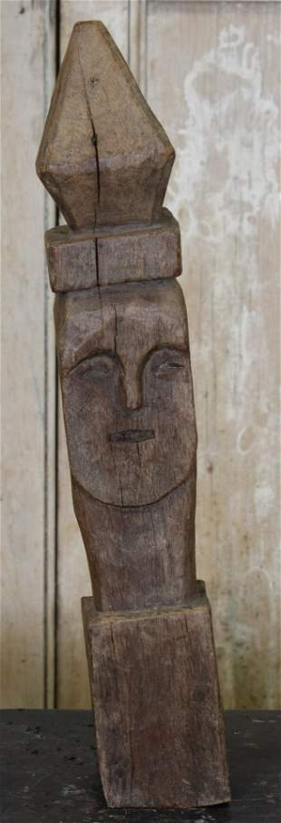 Orissa Indian Carved Wood Totem Reliquary Finial