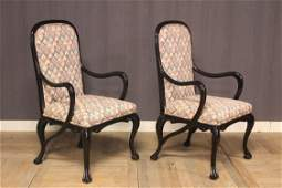 Pair Ebonized Art Nouveau Style Fauteuils