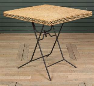 Wicker & Wrought Iron Folding/ Campaign Table