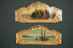 2 Vintage Tole Painted Carousel Panels