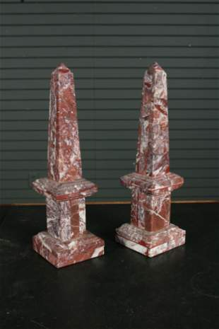 Pair of Neoclassical Carved Marble Obelisks