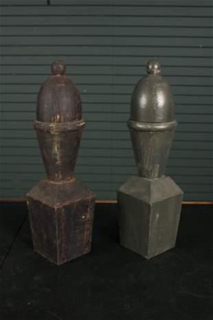 Pr Geometric Carved & Painted Wood Lidded Finials