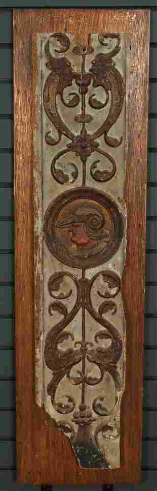 18th C Carved Wood Polychrome Architectural Panel