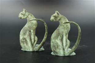 Pair of Cast Bronze Seated Cat Bookends