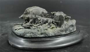 Bronze Wild Boar Hunt Sculpture