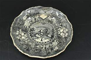 Black Transferware Staffordshire Millenium Plate