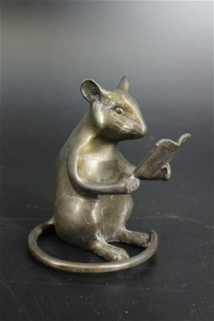 Bronze Mouse Reading a Book Paperweight