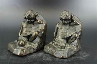 Pair of S. Morani Figural Bookends