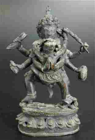 Bronze Tibetan or Nepalese Tantric Sculpture