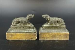 Pair of Bronze Figural Dogs Paperweights