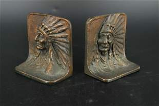 Pair of Indian Head Bookends
